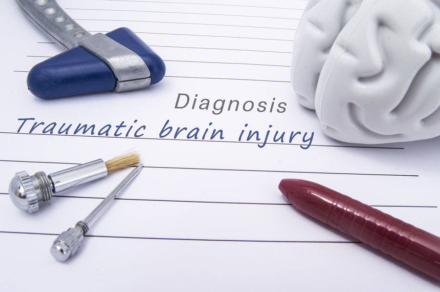 photo of paper form with a medical diagnosis of Traumatic brain injury