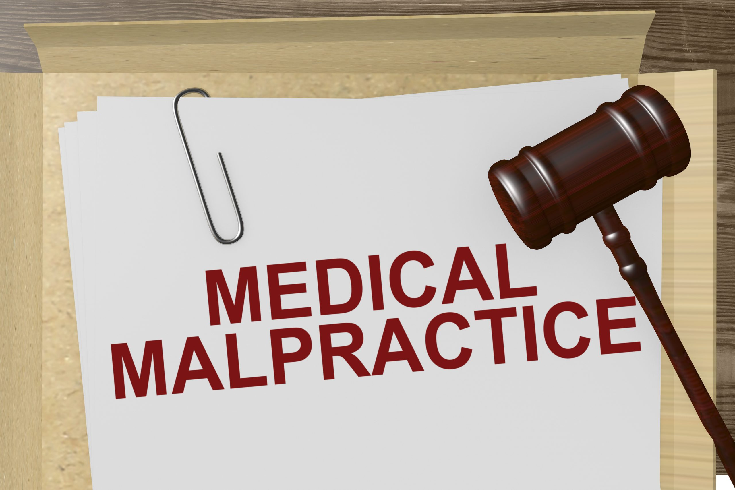 picture of medical malpractice papers in a file