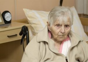 Picture of elderly woman sitting in a wheelchair